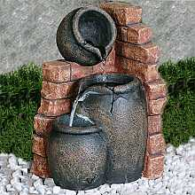 3 Pots On Brick Indoor Water Feature