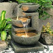 Medium Granite 3 Bowl Water Feature