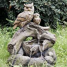 2 Owls on Branch Water Feature