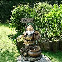 Aqua Moda Welcome Gnome with Squirrel Garden Water Feature with LED Light