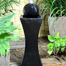 Orba Solar Powered Black Column and Ball Water Feature