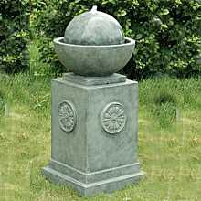 Classic Green Column with Sphere Water Feature