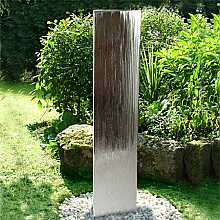 Aqua Moda Steel Staffora 1.8m Garden Water Feature with Pebble Pool Base and LED Light