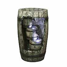 Kelkay Cascading Barrel Water Feature with LED Lights