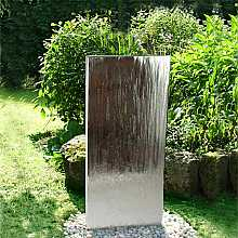 Aqua Moda Steel Staffora 1.2m Garden Water Feature with Pebble Pool Base and LED Light