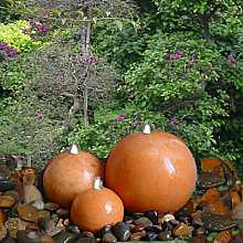 Terracotta Ceramic Triple Sphere Garden Water Feature With LED Lights