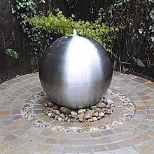 Aterno6 60cm Brushed Stainless Steel Sphere Water Feature With LED Lights