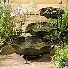 Smart Solar Frog Lilypad Green Ceramic Cascade Garden Water Feature