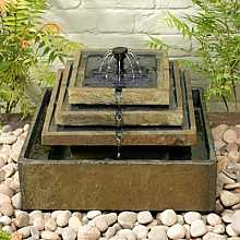 Smart Solar Slate Tiered Solar Fountain Garden Water Feature