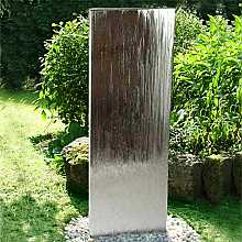 Aqua Moda Steel Staffora Extra Large 1.8m Garden Water Feature with Pebble Pool Base and LED Light