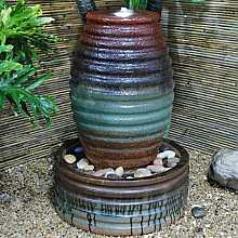 Ribbed Green Brown Urn Water Feature