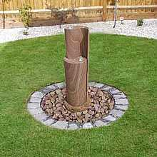 Solar Powered Rainbow Sandstone Aqua Yin Yang Water Feature with LED Light