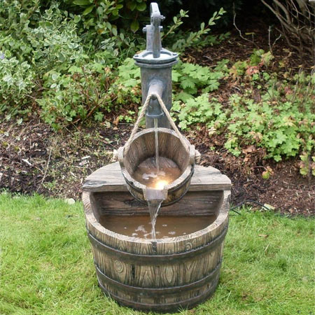 2 Wooden Barrels With Pump Water Feature Water Features 2 Go
