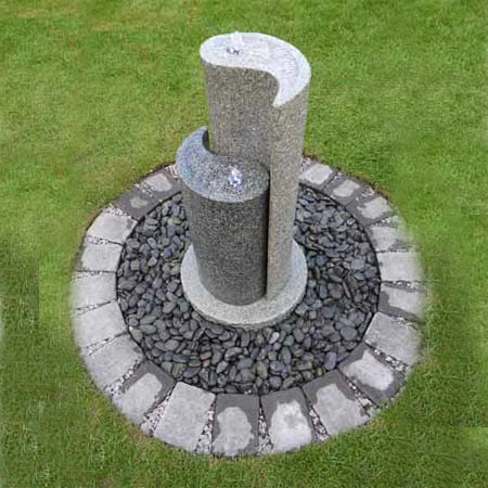 Aqua Yin Yang by AquaModa Granite Water Feature With LED Lights