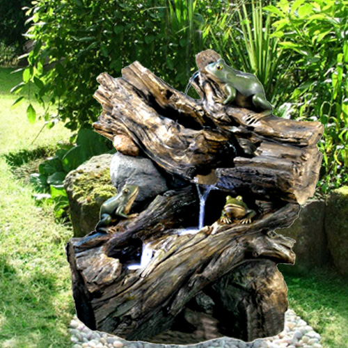 Driftwood Frog Falls Water Feature by Aqua Moda
