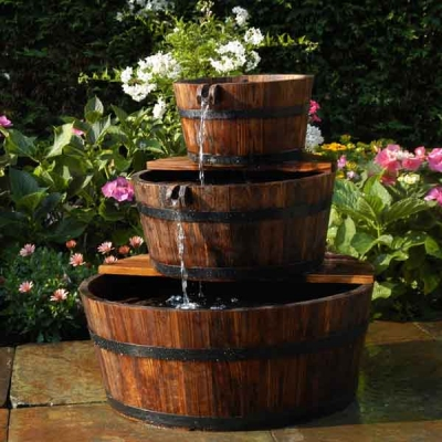 Edinburgh Wooden Barrel Garden Fountain