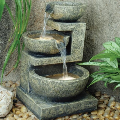 Small granite 3 bowl water feature water features 2 go for Small water features