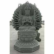 Granite Buddha with Many Hands Sculpture