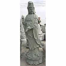 Granite Buddha on Lotus Flower Pedestal Sculpture
