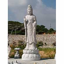 Granite Protection Buddha on Lotus Flower Pedestal Sculpture (2)