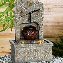 Stone Effect Clock Table Top Indoor Water Feature