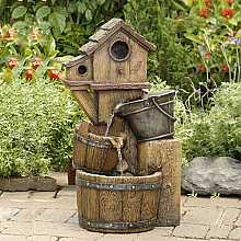 Wooden Birdhouse Water Feature