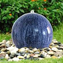 Marble Effect Sphere Water Feature with LED Light and Pebble Pool