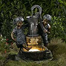 Boy and Girl with Pump Water Feature