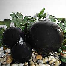 Black Ceramic Triple Sphere Water Feature With LED Lights
