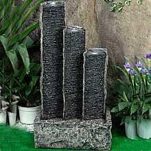 Granite Triple Ripple Columns Water Feature