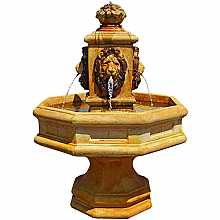 Henri Studios Classic Lion Fountain in Relic Hi Tone Water Feature