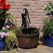 Solar Powered Newcastle Wooden Barrel Garden Fountain With LED Light