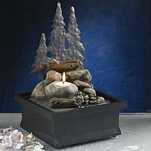 Forest Scene With Tea Light Table Top Indoor Water Feature
