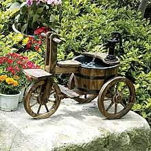 Solar Powered Wooden Tricycle With Barrel And Pump Garden Water Feature With LED
