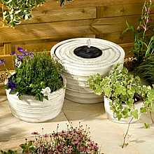 Smart Solar Genoa Water Feature and Planter Set (Antique White)