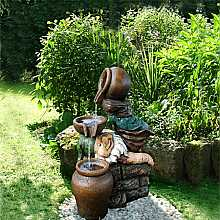 Aqua Moda Gnome with Three Jugs Garden Water Feature with LED Light