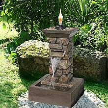 Brick Column with Flame Water Feature
