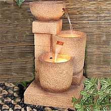 3 Offset Sandstone Pots Water Feature