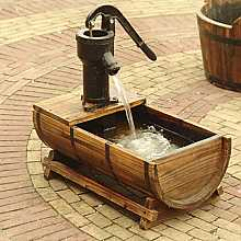 Solar Powered Dundee Wooden Barrel Garden Fountain
