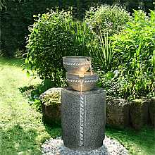 2 Bowl on Granite Column Water Feature