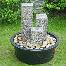 3 Granite Pillar W/LED Water Feature