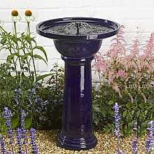 Ravenna Birdbath - Cobalt blue by Smart Solar
