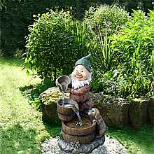 Aqua Moda Gnome with Dog and Three Barrels Garden Water Feature with LED Light