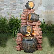 4 Pots on Brick Water Feature