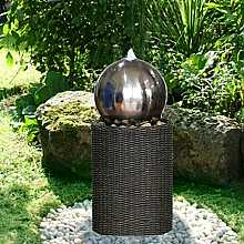 Medium S/S Sphere on Rattan Column Water Feature