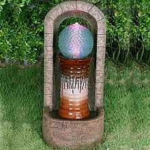 Urn With Glass Spher Garden Water Feature