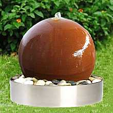 Aterno4 40cm Corten Stainless Steel Sphere Water Feature With Steel Base and LED Lights