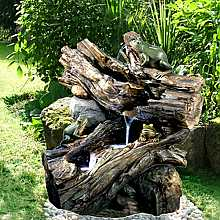 Solar Powered Driftwood Frog Falls Water Feature with LED Lights