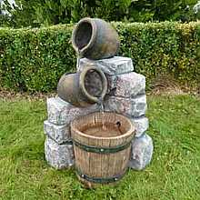 Medium 2 Pots and Wooden Barrel Water Feature