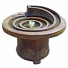 Henri Studios Hurricane Eye Patio Fountain With Light in Relic Lava Water Feature